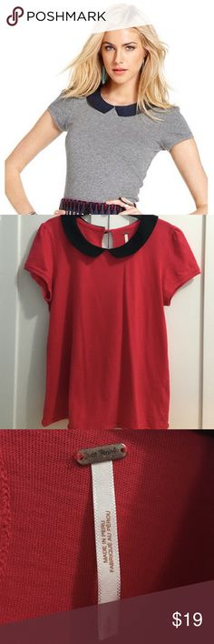 Free People Peter Pan Collar Shirt - Red & Black Free People Peter Pan Collared Shirt - Red & Black.  Size S.  Red shirt with black collar ( NOT GRAY).  100% cotton.  High neckline, back keyhole cutout with button closure. Unfinished trim and hits at the hip.  Fitted.  Gently used and a smoke free home.  Make me an offer! Free People Tops Tees - Short Sleeve