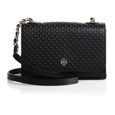 Tory Burch Marion Quilted Leather Crossbody Bag ($310) ❤ liked on Polyvore featuring bags, handbags, shoulder bags, apparel & accessories, tory burch, chain shoulder bag, cross body, tory burch purse and chain strap crossbody purse