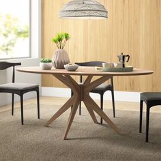 Clutch Leather Arm Chair in Camel Leather/White Oak Round Dining Table Modern, Dining Table Sale, Modern Kitchen Tables, Contemporary Dining Table, Oval Table, Solid Wood Dining Table, Table And Chairs, Side Chairs, Kitchen Dining