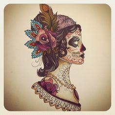 Gypsy Head Sugar Skull Soft Color Tattoo. Kind of pretty