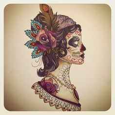 Gypsy Head Sugar Skull Soft Color Tattoo. Kind of pretty