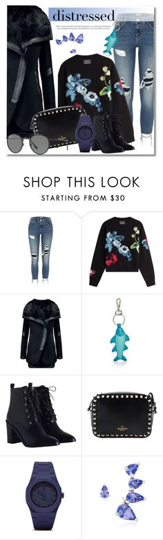 """Distressed Denim"" by vkmd ❤ liked on Polyvore featuring River Island, Anthony Vaccarello, WithChic, Barneys New York, Zimmermann, Valentino, CC, Ross-Simons, Ray-Ban and distresseddenim"