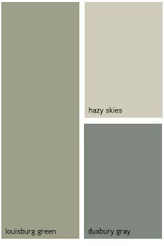 Exterior color scheme: greens