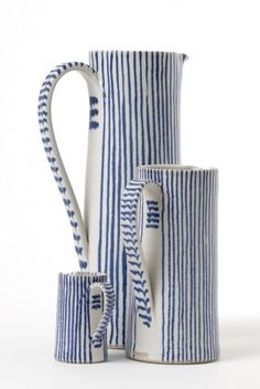 Sue Binns – The Scottish Gallery, Edinburgh – Contemporary Art Since 1842 blue and white ceramics Ceramic Pitcher, Ceramic Clay, Ceramic Pottery, Chinoiserie, Keramik Design, Pottery Painting, White Ceramics, Stoneware, Contemporary Art