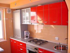 Mobila pentru bucatarie rosu lucios cu sticla sablata si rame din aluminiu Kitchen Cabinets, Design, Home Decor, Furniture, Decoration Home, Room Decor, Cabinets, Home Interior Design