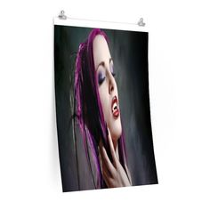 VAMPIRE WITH PURPLE HAIR Vertical Fine Art Prints (Posters)