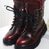 Wish | New Woman  Boots British Style Autumn and Winter Skull Rivets Martin Boots Women Short Leather Boots Vintage Lady Ankle Shoes (Color: Black, Red,Brown)Hot Products