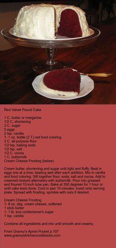 Red Velvet Pound Cake from Granny's Kitchen