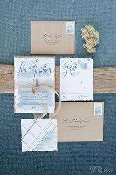 Beach wedding invites. Calligraphy by Diane. | Photography by: Krista Fox.