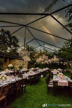Rainbow over a reception, tent. Tent Reception, Wedding Reception, Wedding Venues, Wedding Ideas, Wedding Decorations, Table Decorations, Glamorous Wedding, Vineyard Wedding, Over The Rainbow