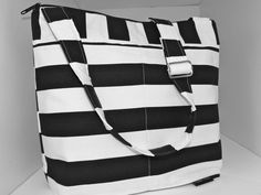 Digital Camera Bag Purse for your Dslr..... with messenger strap SLR camera carrier, in Black and White Stripe by  Darby Mack IN STOCK. $89.00, via Etsy.