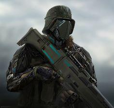 Futuristic sci-fi soldier dude by RobbieMcSweeney.deviantart.com on @deviantART