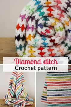Want to make a pretty crochet blanket? I bet you do! Why not make a crochet blanket with this FREE crochet pattern? Try the Diamond stitch to make a pretty crochet rainbow blanket!