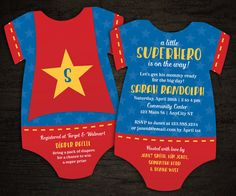 10 Superhero Baby Shower Invitations by LittleBeesGraphics on Etsy