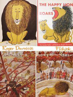 Roger Duvoisin Mid-Century Illustrator Part 1 Roaring Lion Images, Lion Drawing, Roger Duvoisin, Children's Book Illustration, Book Illustrations, Book Of Kells, Naive Art, Vintage Children's Books, Linocut Prints