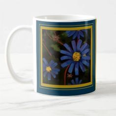 This is the Blue Aster Coffee Mug. The Blue Aster is September's Birth Month Flower, symbolizing patience, daintiness, & affection.