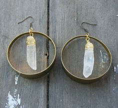 Quartz Crystal Point and Large Brass Hoop Earrings by xVELVETx, $38.00
