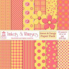 Sweet & Tangy Digital Scrapbook Paper Pack  Instant by TnWScraps