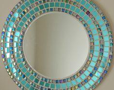 Large round mirror mosaic mirror hand made tiles wedding Blue Mosaic, Mosaic Diy, Mosaic Crafts, Mosaic Projects, Mosaic Tiles, Mosaics, Mosaic Wall, Large Round Mirror, Round Mirrors