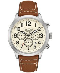 920b364d9a8 Nautica Men s Chronograph Tan Leather Strap Watch 44mm NAD14517G Jewelry    Watches - Watches - Macy s