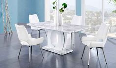 Global Furniture USA Dining Room Set with Dining Table and 4 Swivel Dining Chairs in White Swivel Dining Chairs, White Dining Chairs, Dining Furniture, Furniture Usa, Furniture Ideas, Marble Top Dining Table, Dining Table Design, Dining Table In Kitchen, Round Dining