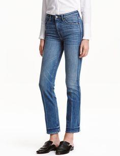 Straight Cropped High Jeans | Lys denimblå | Dame | H&M DK