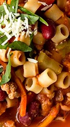 Italian Pasta Soup - Beans, pasta and veggies pair up with ground turkey in this colorful and nutricious soup. You could substitute the turkey with ground chicken, beef or pork if that's your preference. ❊