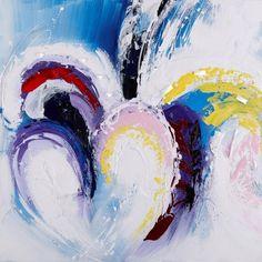 Een abstract schilderij met hartjes. De gekleurde hartjes en de abstracte uitstraling geeft een mooi effect in je huis.