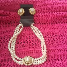 Faux Pearl & Diamond Necklace & Earrings Stunningly Statement Jewelry, triple strand pearls, cameo centers surrounded by faux diamonds, never wore, trimmed in gold, necklace measures 7 inches, earrings measure over an inch Jewelry Necklaces