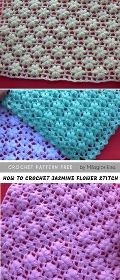 How to easily crochet The Jasmine Flower Stitch Free Crochet Pattern in English and Tutorial #crochetpatternsfree #crochetblanket #throw #crochetstitch