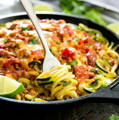This is a healthier, low carb and gluten free version of one pot taco spaghetti, using ground turkey and zucchini noodles. It's an easy meal and everything cooks in one pan.