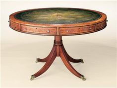 "Center Table?  48"" Dia x 31""H Shown in yew wood, also available in mahogany or walnut. Traditional leather colors available."