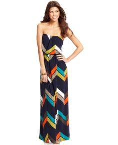 Trixxi Juniors' Strapless Printed Maxi Dress