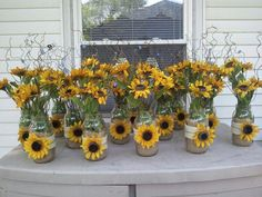 Mason jars sunflowers makes great wedding centerpieces did this for my daughter kristina s wedding june 2012 bigweddingsideasmasonjars Trendy Wedding, Fall Wedding, Diy Wedding, Rustic Wedding, Wedding Flowers, Dream Wedding, Sunflower Wedding Centerpieces, Wedding Ideas, Sunflower Wedding Decorations
