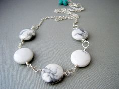 white necklace howlite stone wire wrapped jewelry by urbandwellers