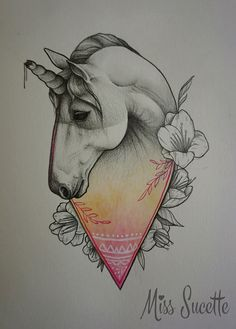 Unicorn - Licorne illustration by Miss Sucette