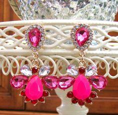 NEW Pink Crystal Statement Chandelier Pierced Earrings Post Party Dress Women's  #Chandelier