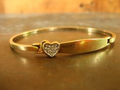 "10k solid gold and diamonds heart ""forever"" engraved bangle bracelet on Etsy $695  from HouseOfRene with free shipping"