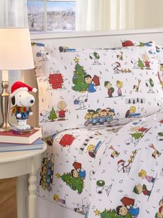 Peanuts Snoopy Woodstock Christmas Merry Bright Grey Sheet Set Twin Full Queen