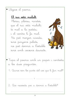 comprensió lectora per cicle inicial - Cerca amb Google Catalan Language, Valencia, Literacy, Teaching, Activities, Books, Google, Animals, Poem