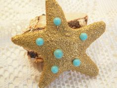 Starfish Brooch With Blue Beads, 2.5 x 2 Inches