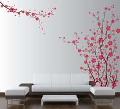 large wall tree nursery decal japanese magnolia cherry blossom with red blossoms Japanese Magnolia, Wall Painting Decor, Cherry Blossom Flowers, Cherry Blossom Nursery, Nursery Decals, Asian Home Decor, Vinyl Wall Art, Wall Decal, Tree Wall Art