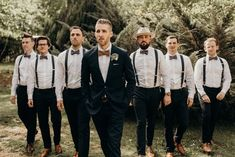 Brown bowties + suspenders | Image by Vic Bonvicini Photography