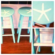 Starfish Painted Barstool DIY