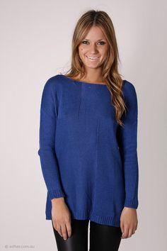 sands of time knit jumper - cobalt blue
