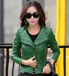 de216cbdb6 women leather jacket 2017 autumn fashion zippers pocket coat female jacket  outwear turn collar faux leather Suede M 5XL 6 colors-in Leather   Suede  from ...