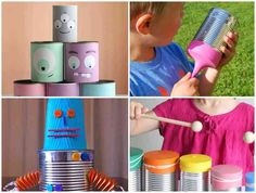 Potes Decorados Album, Old Bottles, How To Make Crafts, Tin Can Phone, Fairy Lights, Coir, Recycled Tin Cans, Cute Small Houses, Growing Orchids