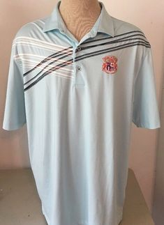 dda01f49c286 Greg Norman Men s World Tour Golf Shirt Short Sleeve Blue Striped Size XXL