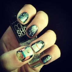 Galaxy nails, complete with spaceship