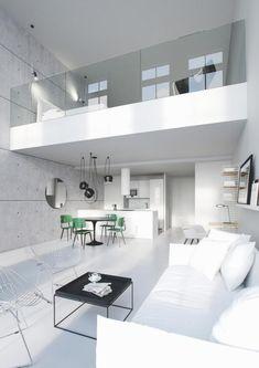 garde corps mezzanine, loft moderne tout blanc